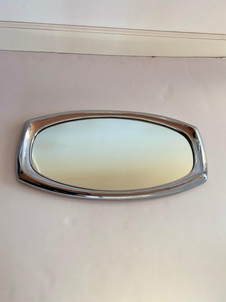 Metal Midcentury Mirror by Syroco For Sale