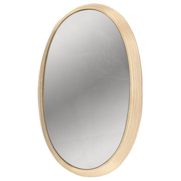 Midcentury Mirror with Back-Light Resin Frame For Sale