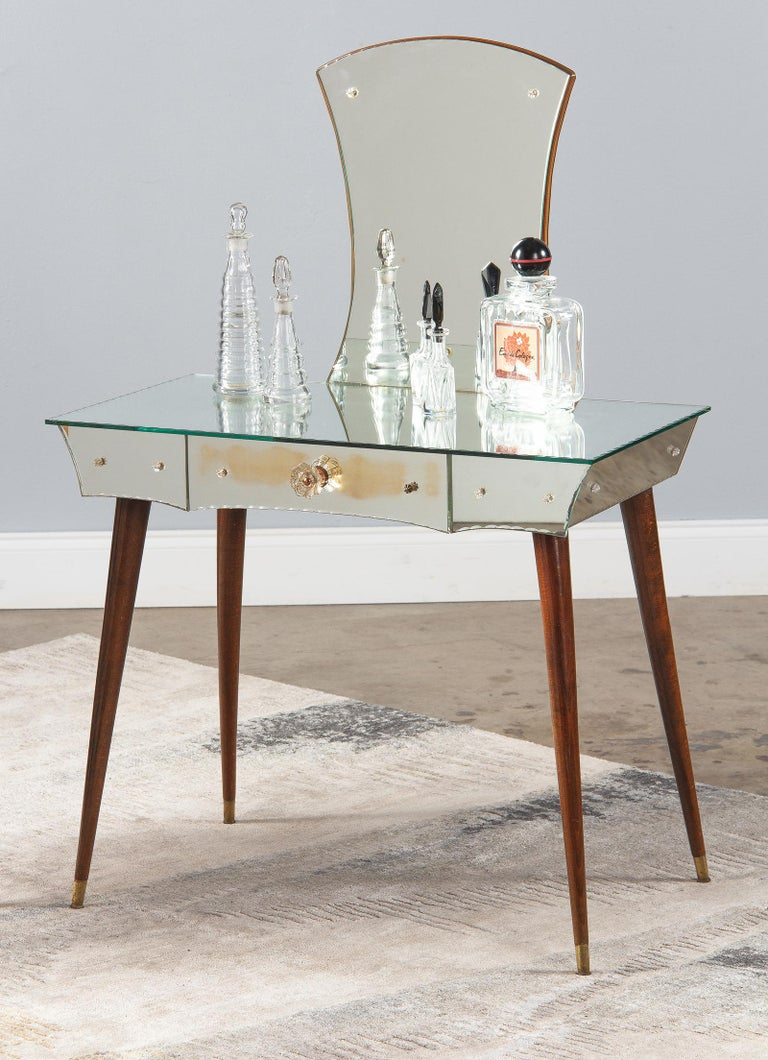 Mid-Century Mirrored Venetian Glass Vanity Table, 1950s For Sale 11