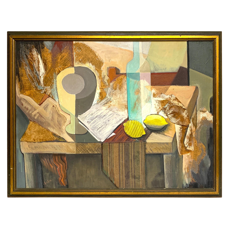 Midcentury Mixed-Media Cubist Still Life Oil on Canvas