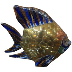 Mid Century Mixed Metal and Pottery Fish Sculpture