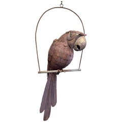 Mid-Century Mixed Metals Distressed Parrot Sculpture by Sergio Bustamante