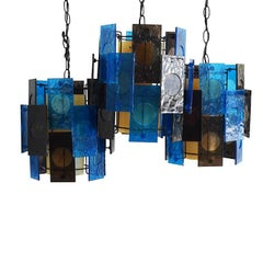 Mid-Century Modern Blue and Brown Staggered Acrylic Hard Wired Pendants, 1960