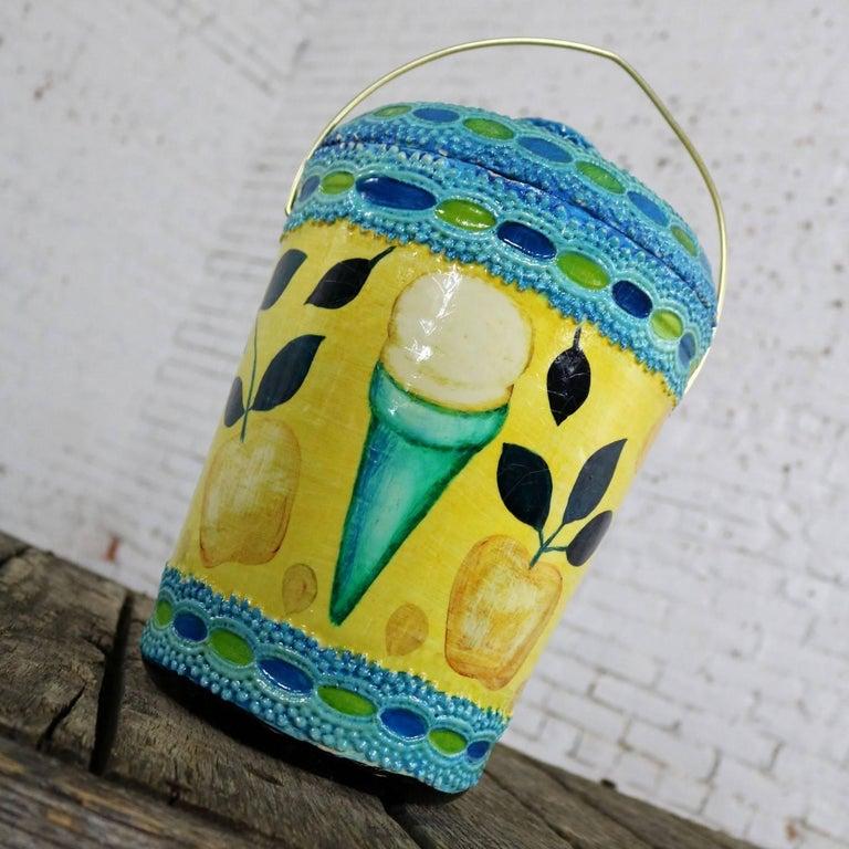 20th Century Mid-Century Modern Styrofoam Ice Bucket Aldo Londi Style Rimini Blue Color For Sale