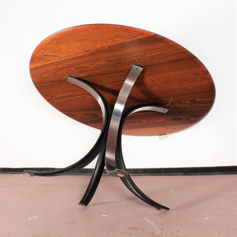 Midcentury Mod T69, Borsani for Tecno Wood and Metal Circular Table, Italy 1960s For Sale 5
