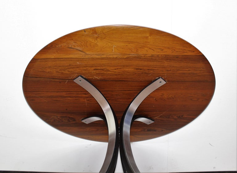 Midcentury Mod T69, Borsani for Tecno Wood and Metal Circular Table, Italy 1960s For Sale 8