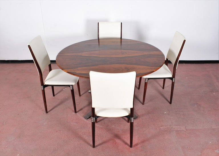 Midcentury Mod T69, Borsani for Tecno Wood and Metal Circular Table, Italy 1960s For Sale 11