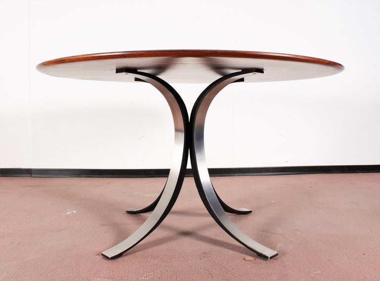 Mid-Century Modern Midcentury Mod T69, Borsani for Tecno Wood and Metal Circular Table, Italy 1960s For Sale
