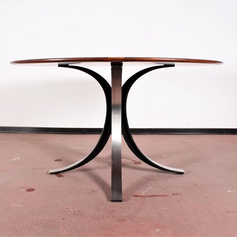 Italian Midcentury Mod T69, Borsani for Tecno Wood and Metal Circular Table, Italy 1960s For Sale