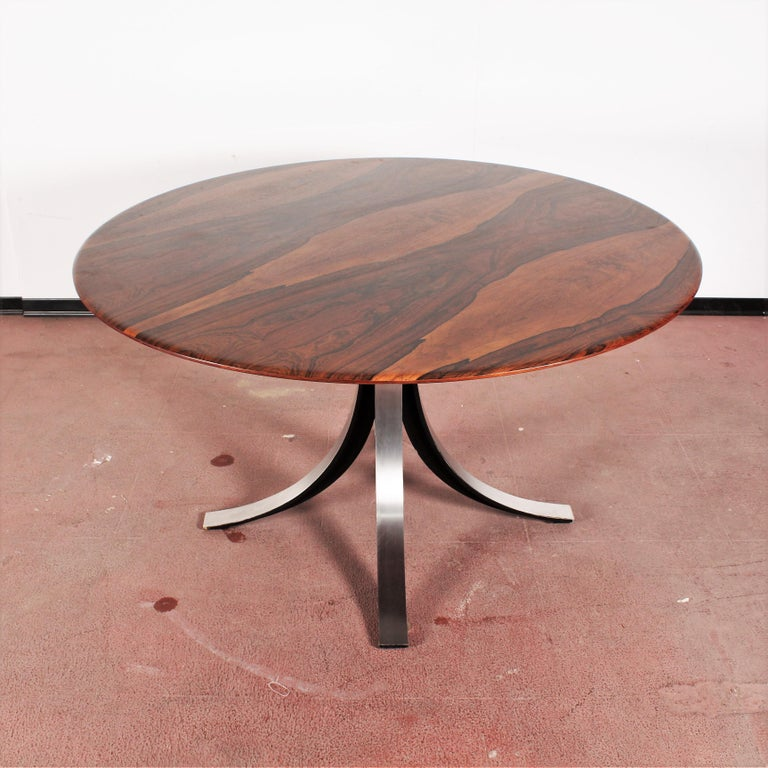 Brushed Midcentury Mod T69, Borsani for Tecno Wood and Metal Circular Table, Italy 1960s For Sale