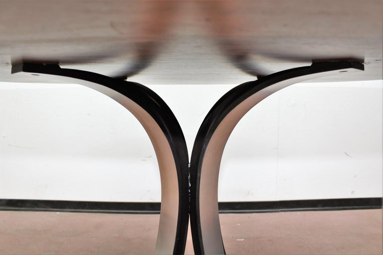 Mid-20th Century Midcentury Mod T69, Borsani for Tecno Wood and Metal Circular Table, Italy 1960s For Sale