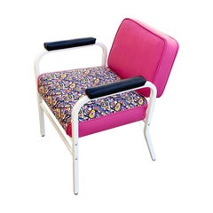 Midcentury ModeCraft Salon Chair, Refinished in Pink and White