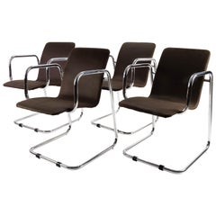Mid-Century Modern Set of Four Chrome Candilever Spanish Chairs, 1970