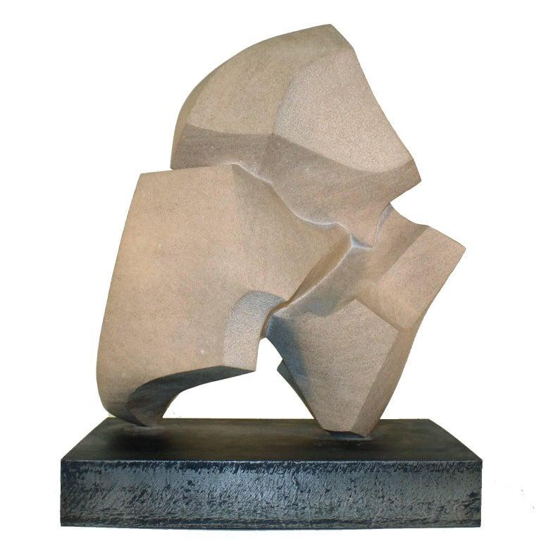 Mid-Century Modern Abstract Limestone Sculpture on Welded Steel Base