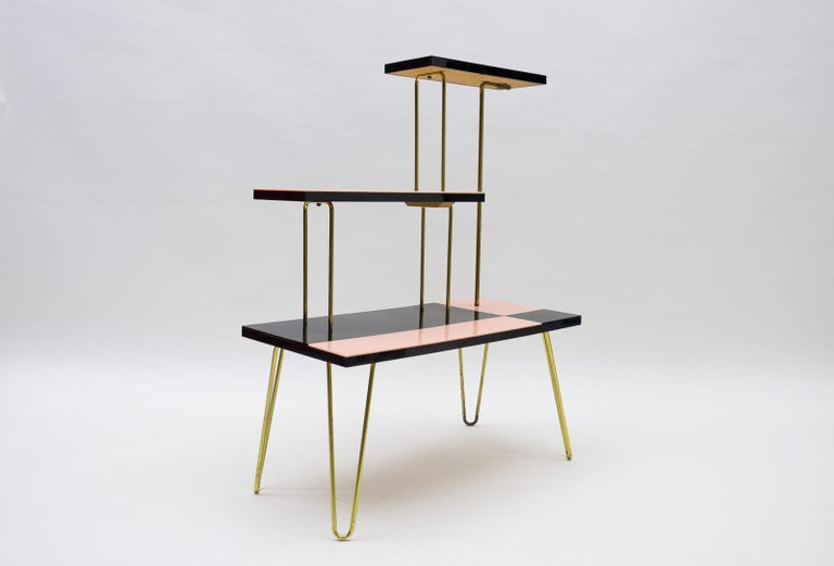 Mid-Century Modern Brass Tubular Steel Étagère / Flower Stand, 1950s/60s In Good Condition For Sale In Nürnberg, Bayern