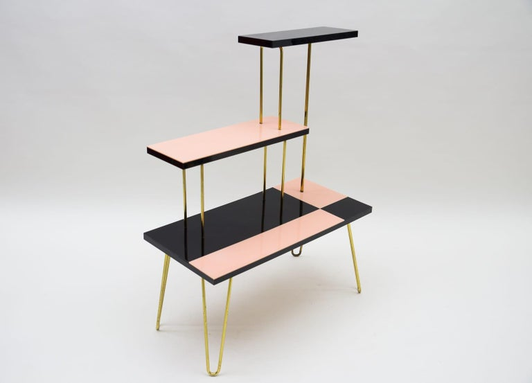 Mid-20th Century Mid-Century Modern Brass Tubular Steel Étagère / Flower Stand, 1950s/60s For Sale