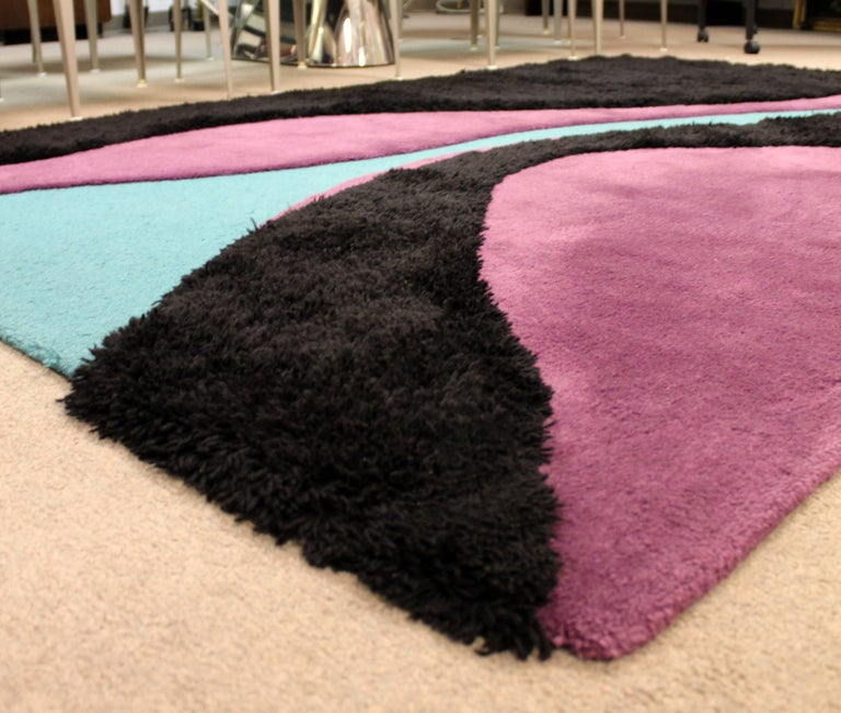 American Mid-Century Modern 100% Wool Area Rug Carter Carpets Black Teal Purple, 1970s For Sale