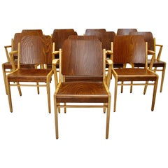 Mid-Century Modern 12 Vintage Bicolor Beech Dining Chairs Franz Schuster, 1959