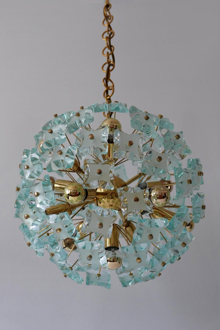 Mid-Century Modern 13-Flamed Sputnik Chandelier or Pendant Lamp Dandelion, 1960s For Sale 3