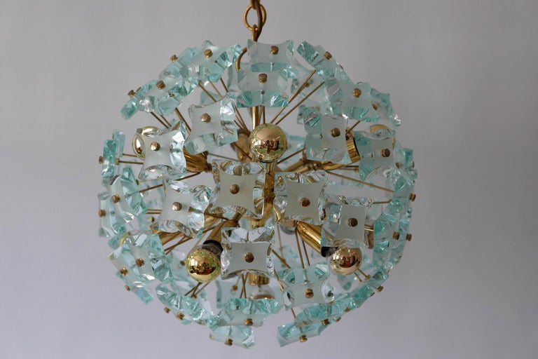 Mid-Century Modern 13-Flamed Sputnik Chandelier or Pendant Lamp Dandelion, 1960s For Sale 4