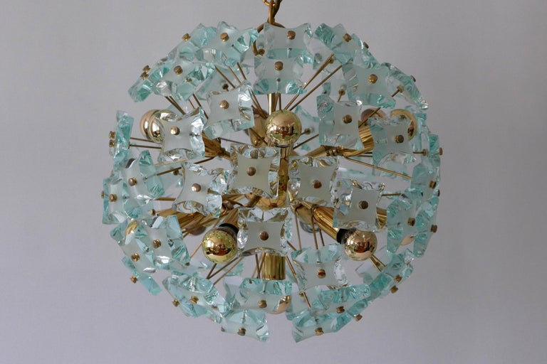 Mid-Century Modern 13-Flamed Sputnik Chandelier or Pendant Lamp Dandelion, 1960s For Sale 5