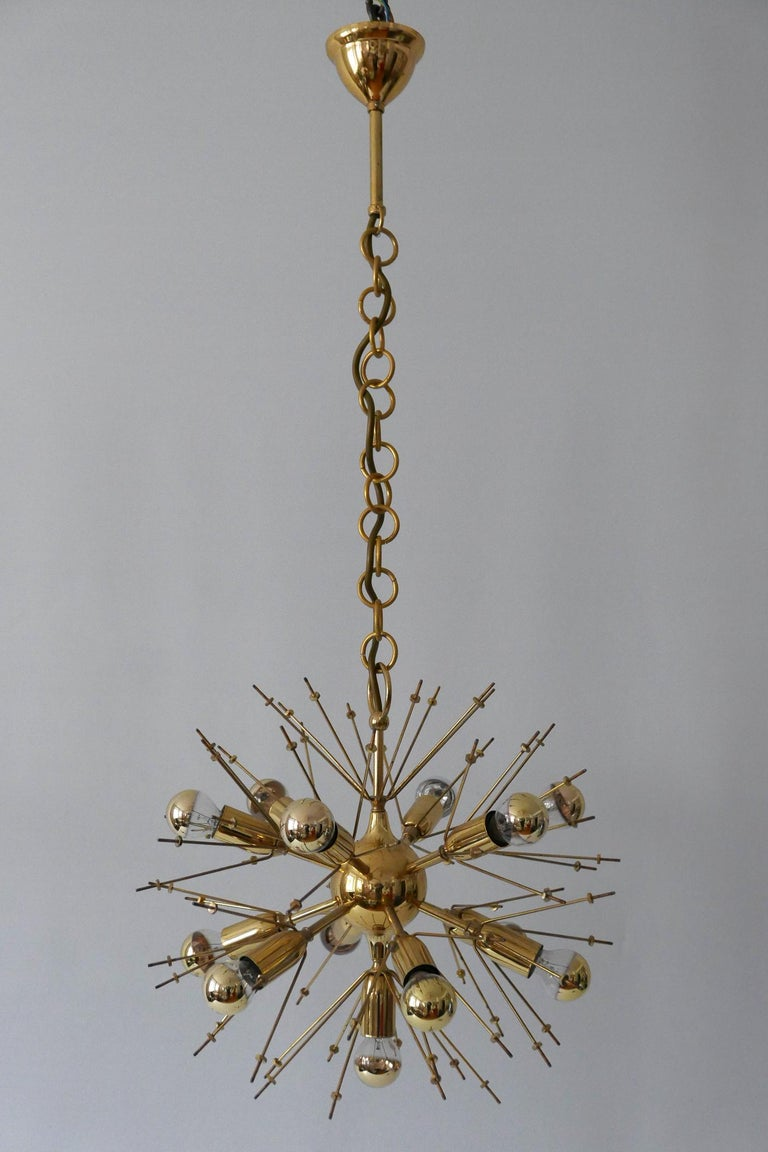 Mid-Century Modern 13-Flamed Sputnik Chandelier or Pendant Lamp Dandelion, 1960s For Sale 11