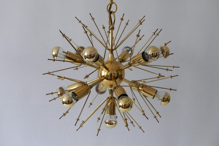 Mid-Century Modern 13-Flamed Sputnik Chandelier or Pendant Lamp Dandelion, 1960s For Sale 12