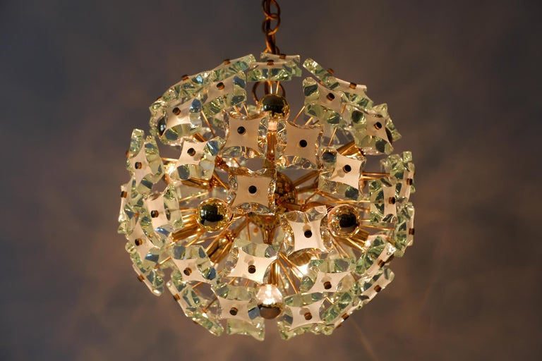Polished Mid-Century Modern 13-Flamed Sputnik Chandelier or Pendant Lamp Dandelion, 1960s For Sale
