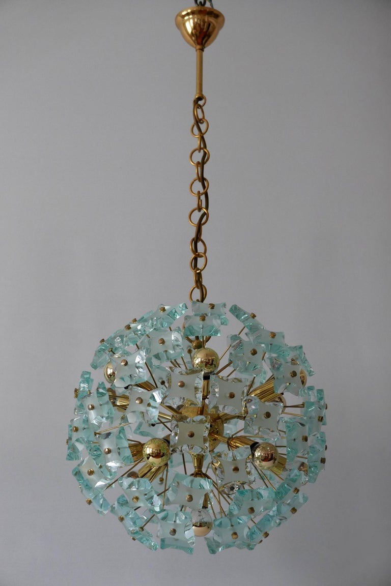 Brass Mid-Century Modern 13-Flamed Sputnik Chandelier or Pendant Lamp Dandelion, 1960s For Sale