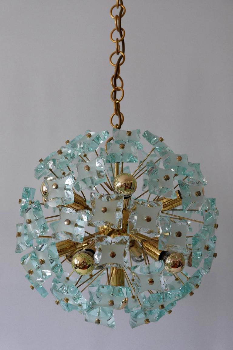 Mid-Century Modern 13-Flamed Sputnik Chandelier or Pendant Lamp Dandelion, 1960s For Sale 2