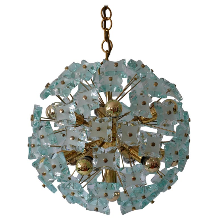 Mid-Century Modern 13-Flamed Sputnik Chandelier or Pendant Lamp Dandelion, 1960s For Sale