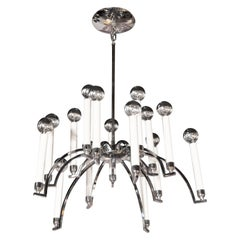 Mid-Century Modern 14-Arm Chrome Chandelier by Lightolier