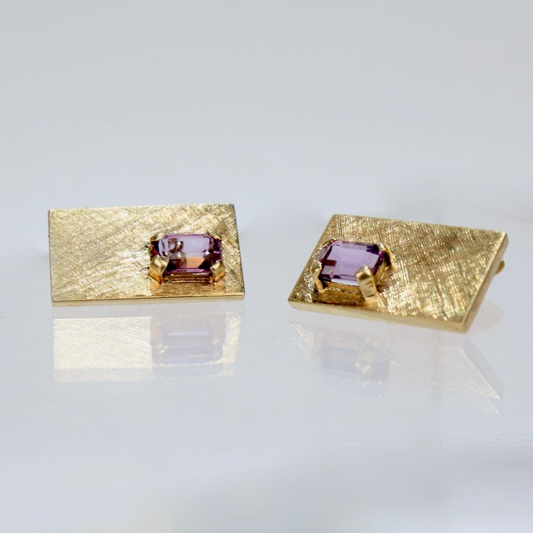 Men's Mid-Century Modern 14 Karat Gold and Amethyst Cuff Links For Sale