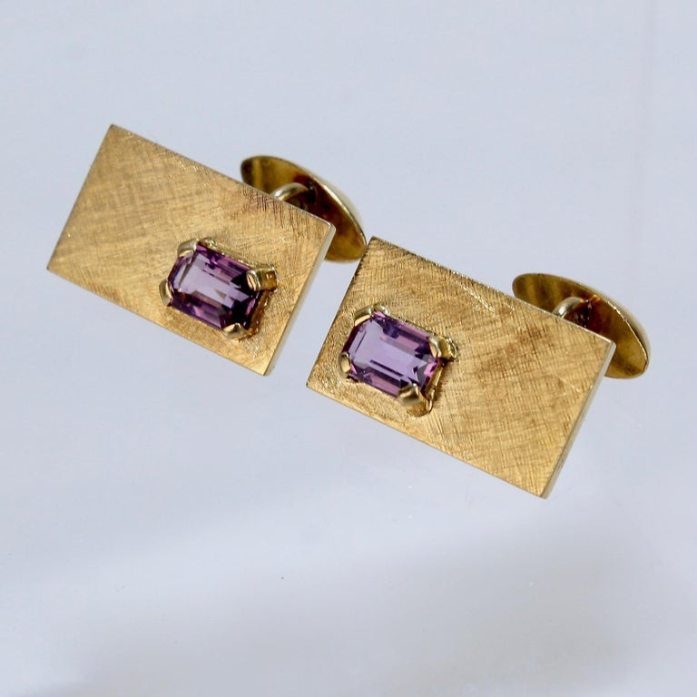 Mid-Century Modern 14 Karat Gold and Amethyst Cuff Links For Sale 1