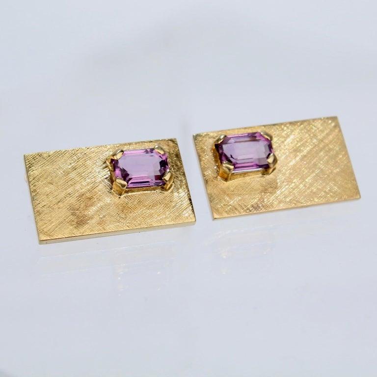 Mid-Century Modern 14 Karat Gold and Amethyst Cuff Links For Sale 4