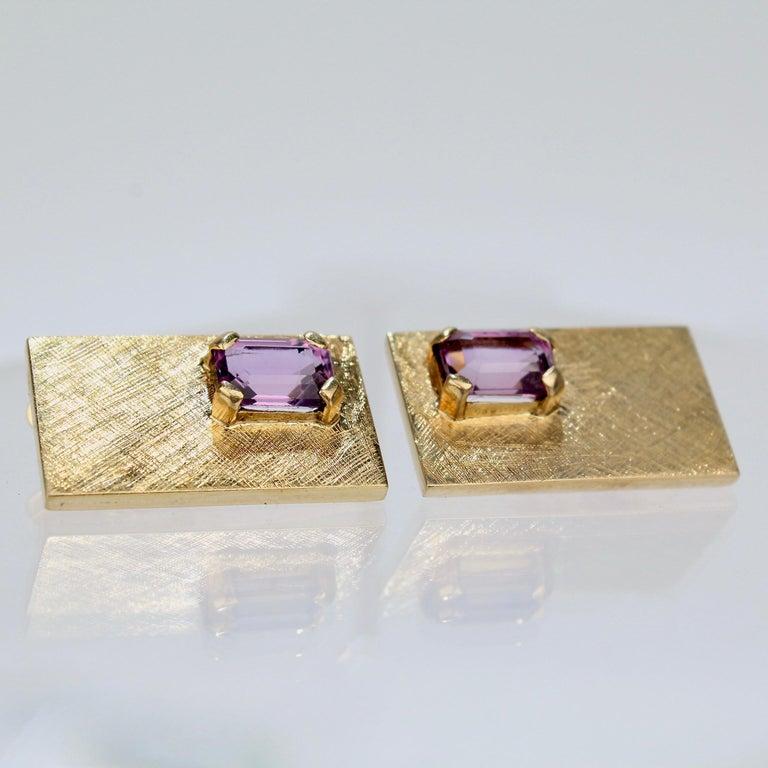 Mid-Century Modern 14 Karat Gold and Amethyst Cuff Links For Sale 5
