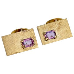 Mid-Century Modern 14 Karat Gold and Amethyst Cuff Links