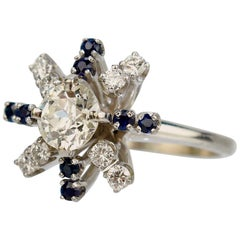 Mid-Century Modern 14K White Gold, Diamond, and Sapphire Starburst Cocktail Ring