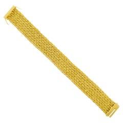 Mid-Century Modern 18 Karat Gold Flexible Link Strap Bracelet
