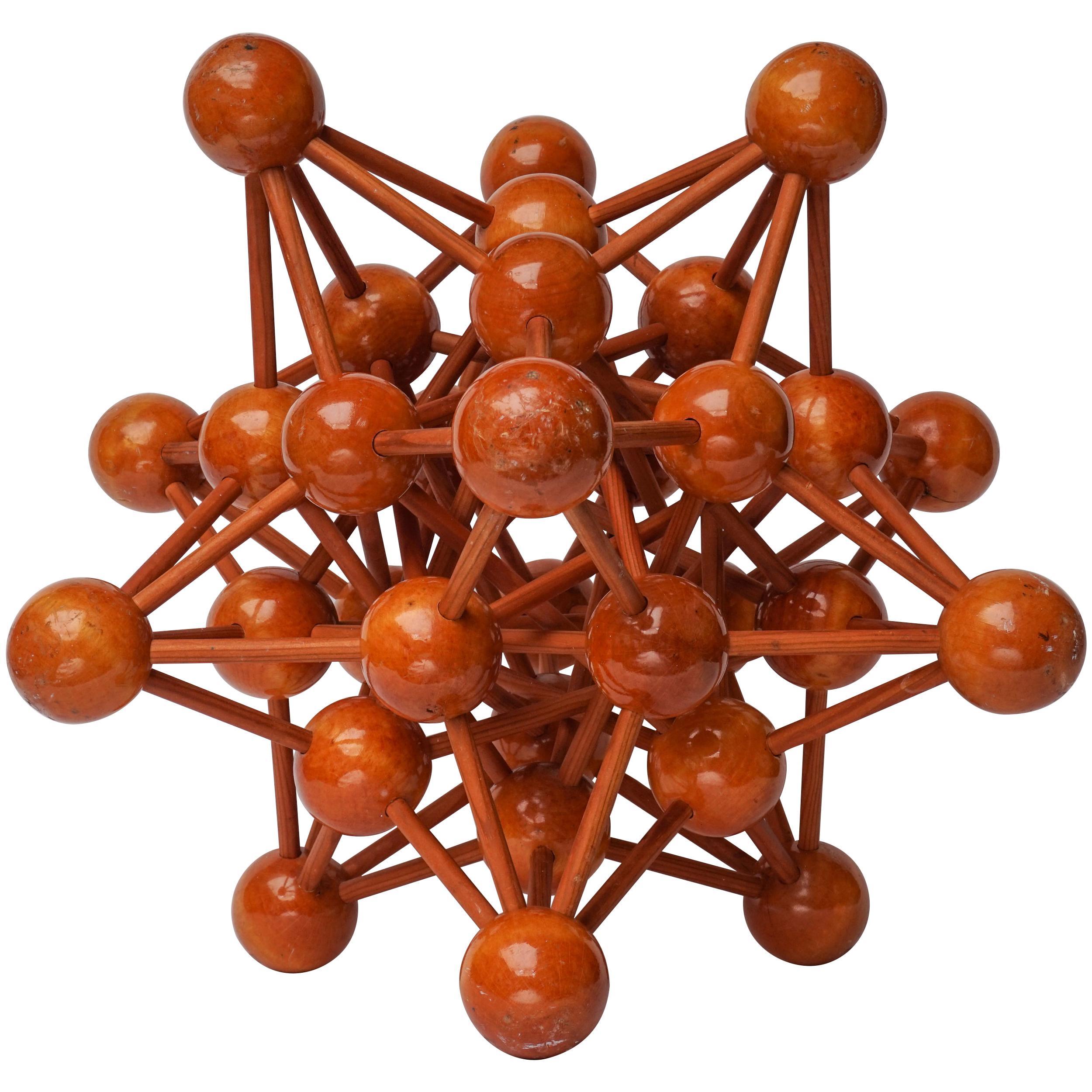 Mid-Century Modern 1950s Dutch Wooden Scientific Molecule Atomic Sculpture Model