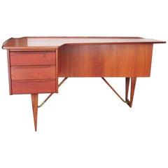 """Mid-Century Modern 1955 Teak """"Boomerang"""" Desk by Peter Løvig Nielsen, Denmark"""