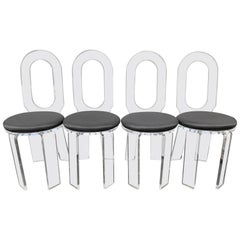 Mid-Century Modern 1970s Bespoke Lucite Swivel Dining Chairs Set of Four