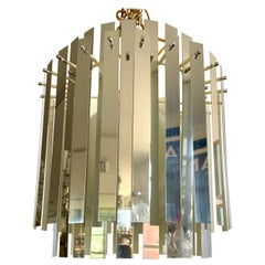 Mid-Century Modern 1970s Mirrored Metallic Chandelier Light Fixture