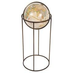 Mid-Century Modern 1970s Paul McCobb Style Brass Stand Replogle Globe