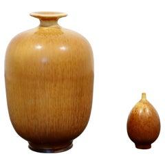 Mid-Century Modern 2 Pc Ceramic Set Signed Berndt Friberg Brown Hare Glaze 1960s
