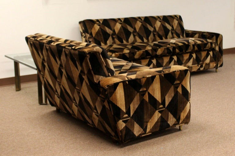 For your consideration is a gorgeous, two-piece, sectional sofa, on brass and wood legs, in the style of Milo Baughman and Jack Lenor Larsen. In excellent condition, 1960. Can be used as a 3 section sofa or a 2-piece sectional. The dimensions of