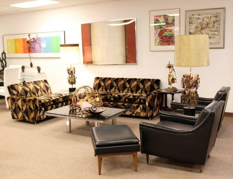 Mid-20th Century Mid-Century Modern 2-Piece Sectional Sofa Brass Baughman Lenor Larsen Style For Sale
