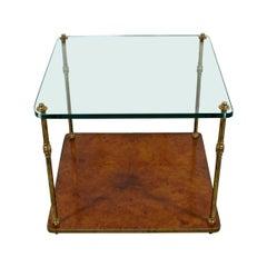 Mid-Century Modern 2 Tier Burl Wood Glass Brass Coffee Table Baughman Era 1960s