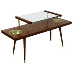 Mid-Century Modern 2-Tier Walnut Glass with Planters Coffee Table McCobb, 1960s