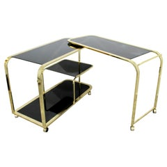 Mid-Century Modern 2 Tiered Brass and Black Glass Serving Bar Cart by DIA, 1970s